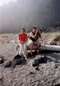 "Bay of Fundy, New Brunswick, Canada (2001)... with my lovely assistant and future ""Swife""  (Swiss wife). Yes, we all started with a crappy Velbon tripod..."